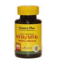 Vitamina D3 Vitamina K2 Nature´s Plus es un complemento alimenticio beneficioso para la salud ósea, la función inmunitaria y el deterioro anímico. La acción de la vitamina D viene reforzada por la presencia de vitamina K.