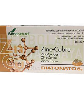 DIATONATO ZINC COBRE SORIA NATURAL es un complemento alimenticio que constituye un aporte de los oligoelementos Zinc y Cobre en solución. Oligoelemento indicado en casos de retraso en el desarrollo intelectual. Ayuda en casos de impotencia y problemas menstruales.