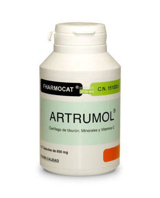 Artrumol Fharmocat es un complemento alimenticio a base de cartílago de tiburón, vitaminas y minerales que ayuda a mantener elásticas las articulaciones y a la preservación del cartílago.