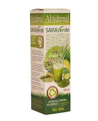 AKTIDRENAL SAVIA VERDE Tongil es un complemento alimentico a base de algas Spirulina y Chorella, Extractos concentrados de plantas y frutas, vitaminas y minerales.