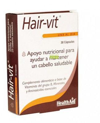 Hair Vit Health Aid es un complemento alimenticio a base de vitaminas B y aminoácidos esenciales.