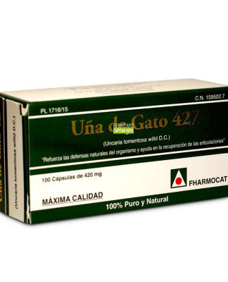 UÑA DE GATO 427 FHARMOCATUña de Gato 427 Fharmocat es un complemento alimenticio a base de uña de Gato.