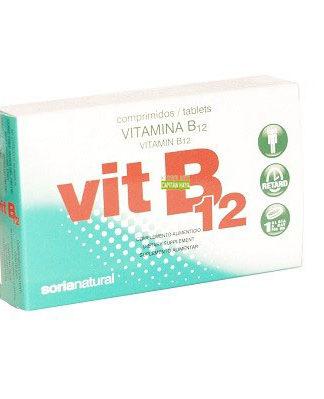 VITAMINA B12 SORIA NATURAL es un complemento alimenticio a base de cianocobalamina ( V. B12).Comprimidos de liberación retardada, de elevada absorción y aprovechamiento. La vitamina B12 contribuye a mantener la función psicológica normal y al funcionamiento normal del sistema nervioso.