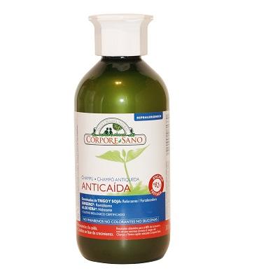 El Champu anticaida Corpore Sano revitaliza, estimula y fortalece el cabello. Previene y combate la caída y deja el cabello suave, hidratado y acondicionado.
