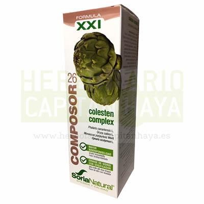 COMPOSOR 26 COLESTEN COMPLEXes un complemento alimenticio que contiene una mezcla de extractos que ayudan a reducir el colesterol y a evitar la arterioesclerosis.