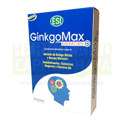 GINKGOMAX MEMORYes un complemento alimenticio a base de Ginkgo Biloba y Bacopa Monnieri, Fosfatildilserina, Glutamina, Magnesio y Vitamina B6.