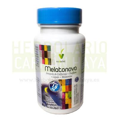 MELATONOVAes un complemento alimenticio a base de Amapola de California, pastaflora, Lúpulo y Melatonina.