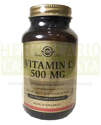 VITAMIN C 500 MG de SolgarVITAMIN C 500MG de Solgar es un complemento alimenticio con alto contenido en Vitamina C. Apto para veganos.