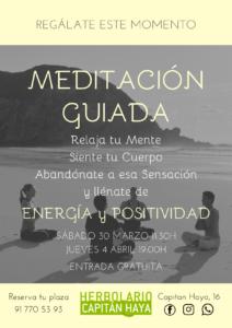 MEDITACIÓN GUIADA | 30/03/19 | 11:30 Y 04/04/2019 | 19:00H