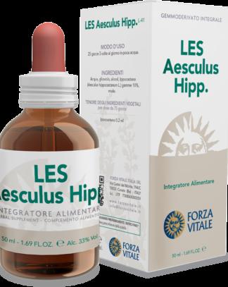 LES AESCULUS HIPPOCASTANUM FORZA VITALE LES Aesculus hippocastanum Forza Vitale es un complemento alimenticio de yemoderivados de Castaño de India que favorece el bienestar del sistema venoso.