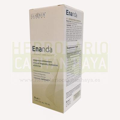 El frasco de Enanda contiene alcohol, agua, Helicriso, Equinácea, Regaliz, Jengibre, Rodiola, Magnolia y Pimienta negra.