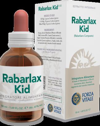 Rabarlax kids Forza Vitale es un complemento alimenticio a base de Ruibarbo y Sen que favorece el normal tránsito intestinal.