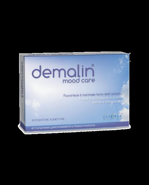 Demalin Glauber Pharma es un complemento alimenticio de Grifonia e Hipérico que promueve el normal estado de ánimo.
