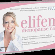 Elifem Glauber Pharma es un complemento alimenticio de Soja y Trébol rojo que favorece el bienestar de la mujer en menopausia.