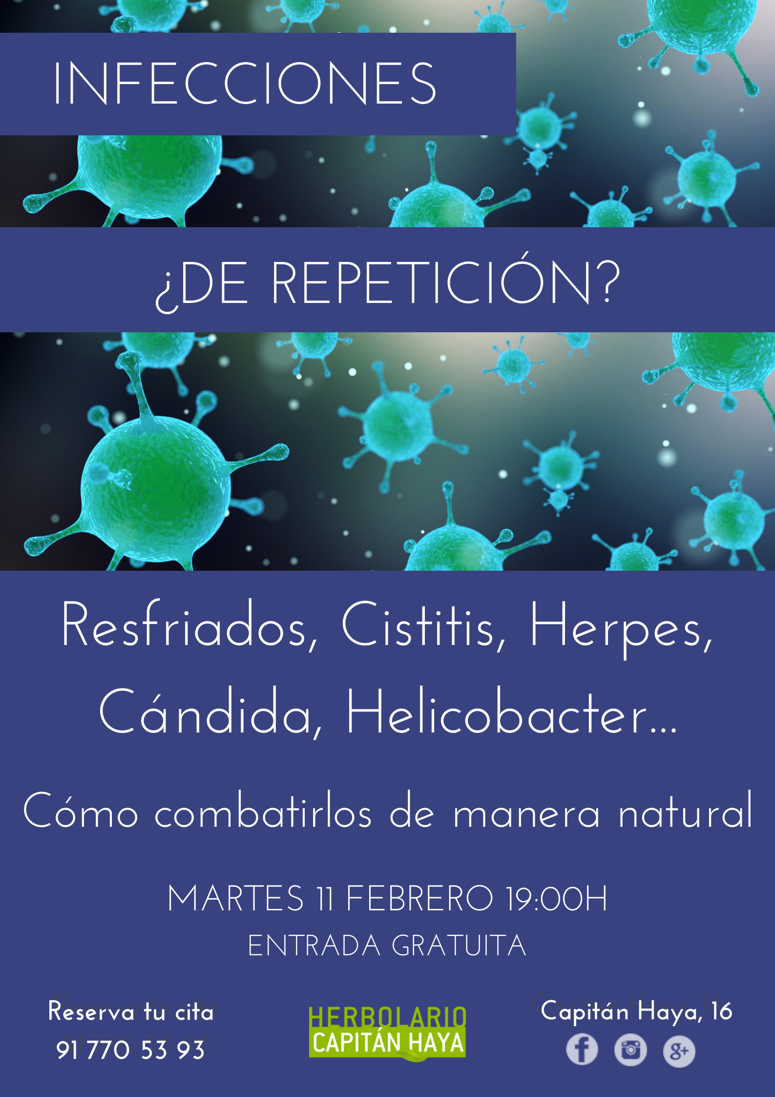 CONFERENCIA GRATUITA INFECCIONES DE REPETICION HELICOBACTER PYLORI CANDIDAS, E-COLI, CISTITIS, RESFRIADOS