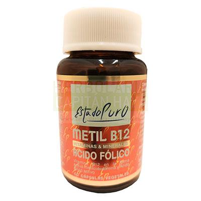 Metil B12 Acido Folico Estado Puro Tongil es un complemento alimenticio cuya fórmula que combina vitamina B12 en su forma activa metilcobalamina con ácido fólico en su forma activa 5-metiltetrahidrofalato. Apto para veganos.