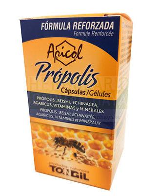 Propolis Apicol capsulas Tongil es un complemento alimenticio cuya órmula está reforzada con ingredientes que contribuyen al sistema inmunitario. Producto apto para vegetarianos.