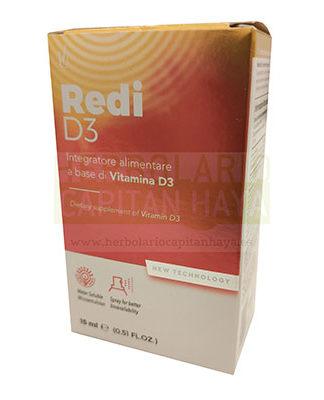 Redi D3 spray 15 ml Glauber Pharma es un complemento alimenticio con un aporte natural de vitamina D3 para el mantenimiento de la densidad ósea, la absorción de calcio y fósforo, estimular las defensas inmunes naturales y reducir el riesgo de caídas.